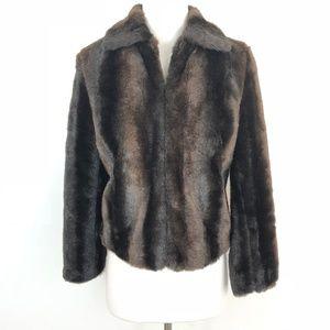 LOFT Faux Fur Jacket Cropped Coat Brown Lined